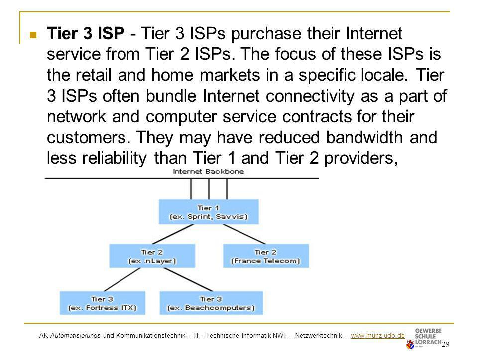 Tier 3 ISP - Tier 3 ISPs purchase their Internet service from Tier 2 ISPs. The focus of these ISPs is the retail and home markets in a specific locale. Tier 3 ISPs often bundle Internet connectivity as a part of network and computer service contracts for their customers. They may have reduced bandwidth and less reliability than Tier 1 and Tier 2 providers,