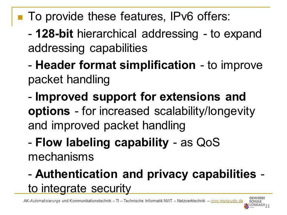 To provide these features, IPv6 offers: