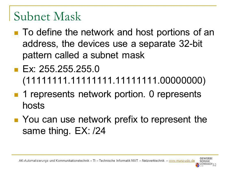 Subnet MaskTo define the network and host portions of an address, the devices use a separate 32-bit pattern called a subnet mask.
