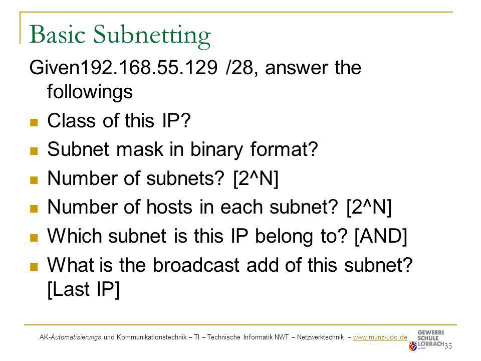 Basic Subnetting Given192.168.55.129 /28, answer the followings