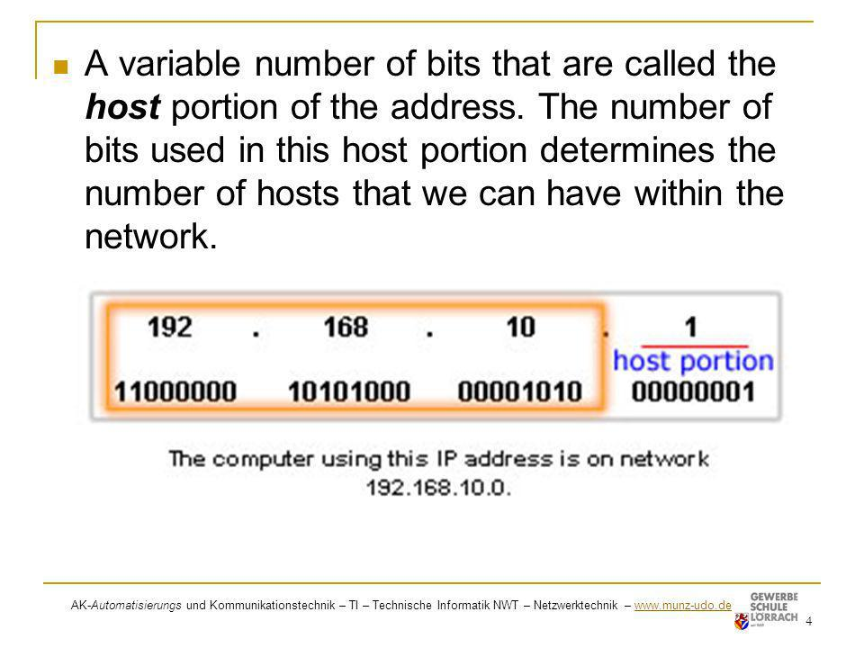 A variable number of bits that are called the host portion of the address. The number of bits used in this host portion determines the number of hosts that we can have within the network.
