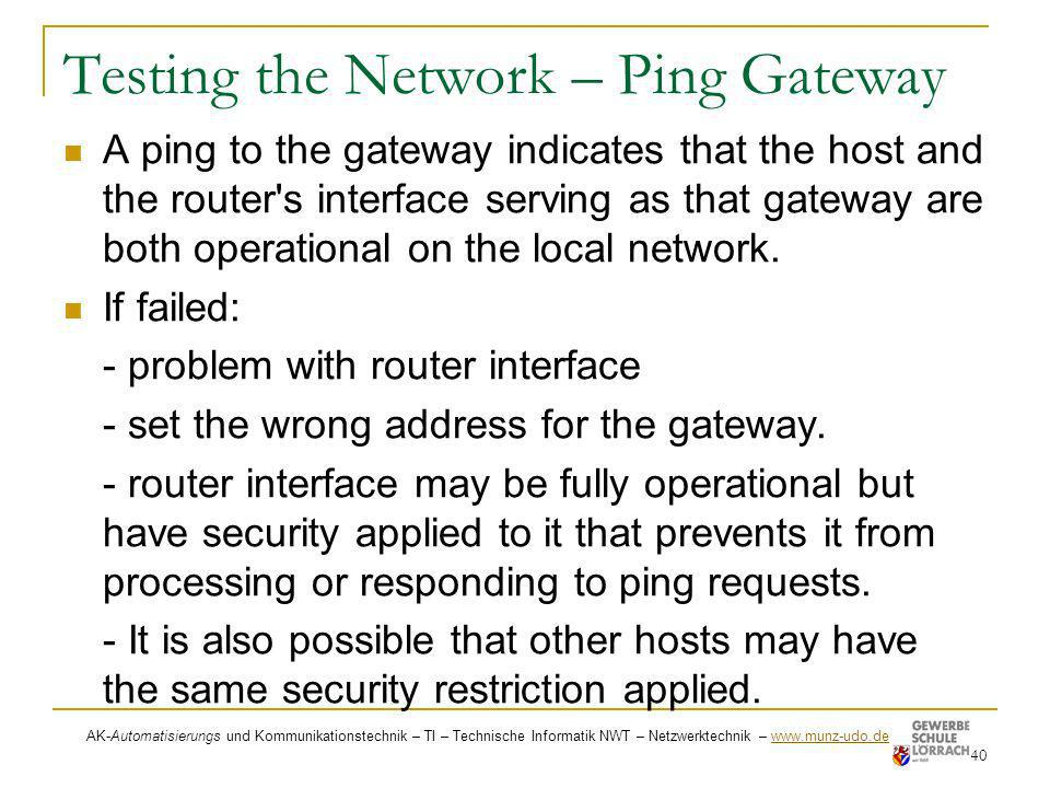 Testing the Network – Ping Gateway