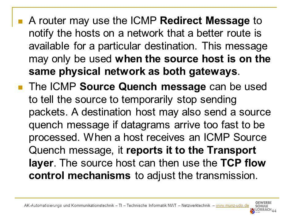 A router may use the ICMP Redirect Message to notify the hosts on a network that a better route is available for a particular destination. This message may only be used when the source host is on the same physical network as both gateways.