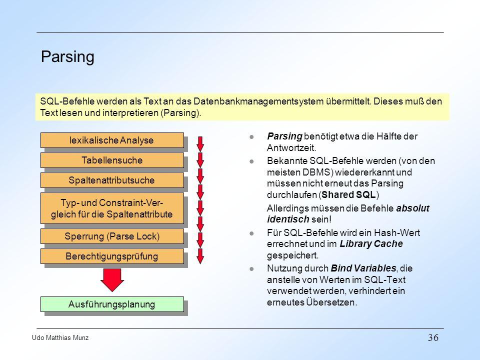 Parsing SQL-Befehle werden als Text an das Datenbankmanagementsystem übermittelt. Dieses muß den. Text lesen und interpretieren (Parsing).