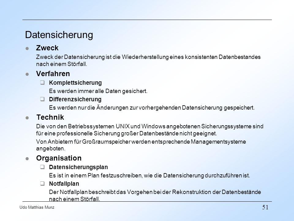 Datensicherung Zweck Verfahren Technik Organisation