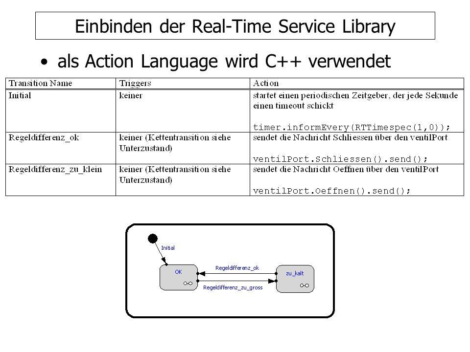 Einbinden der Real-Time Service Library