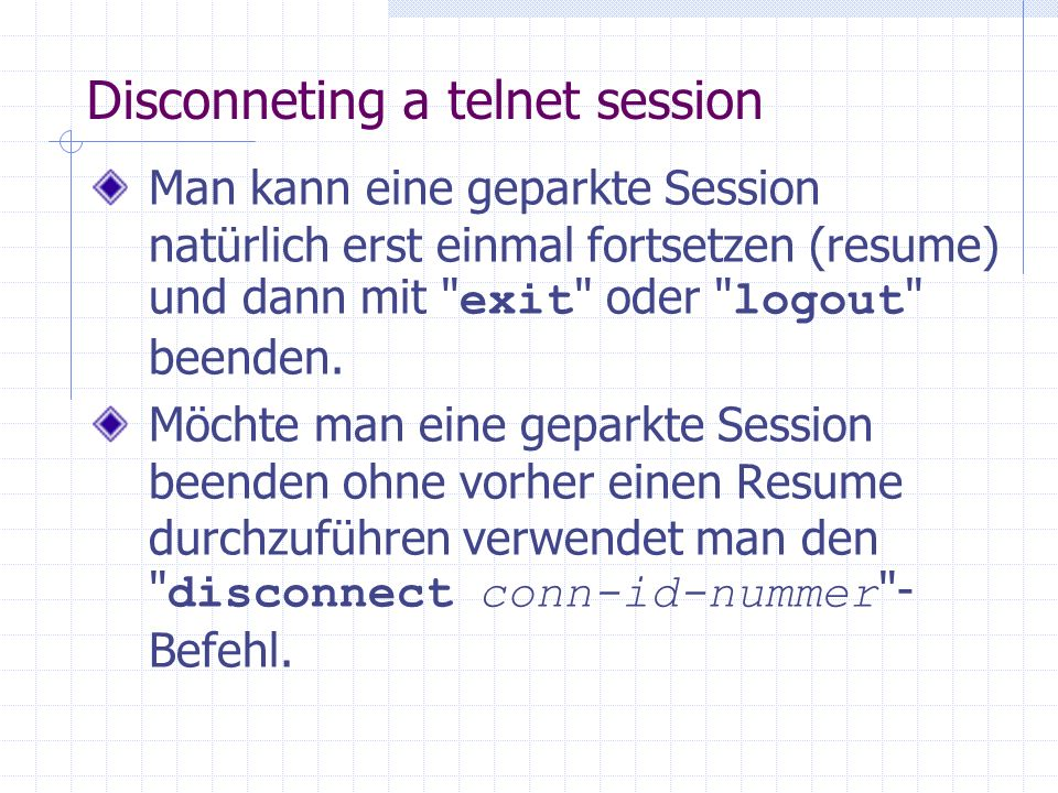Disconneting a telnet session