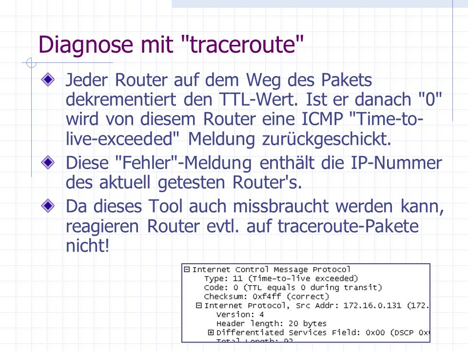 Diagnose mit traceroute