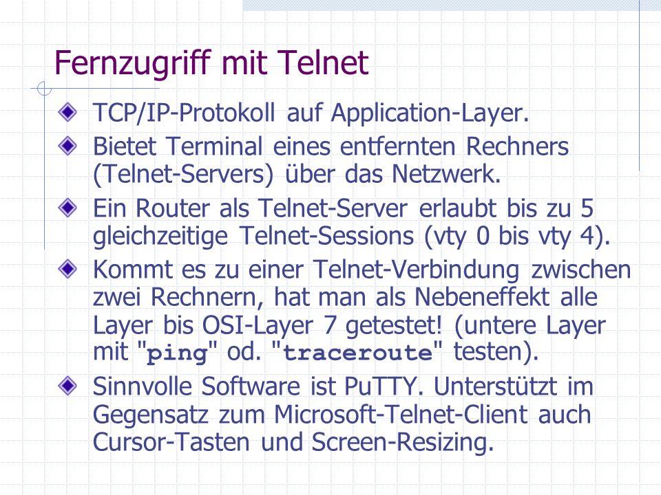 Fernzugriff mit Telnet