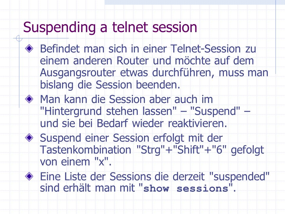 Suspending a telnet session