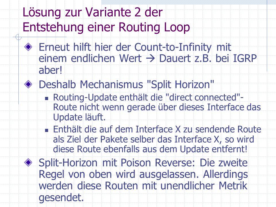 Lösung zur Variante 2 der Entstehung einer Routing Loop