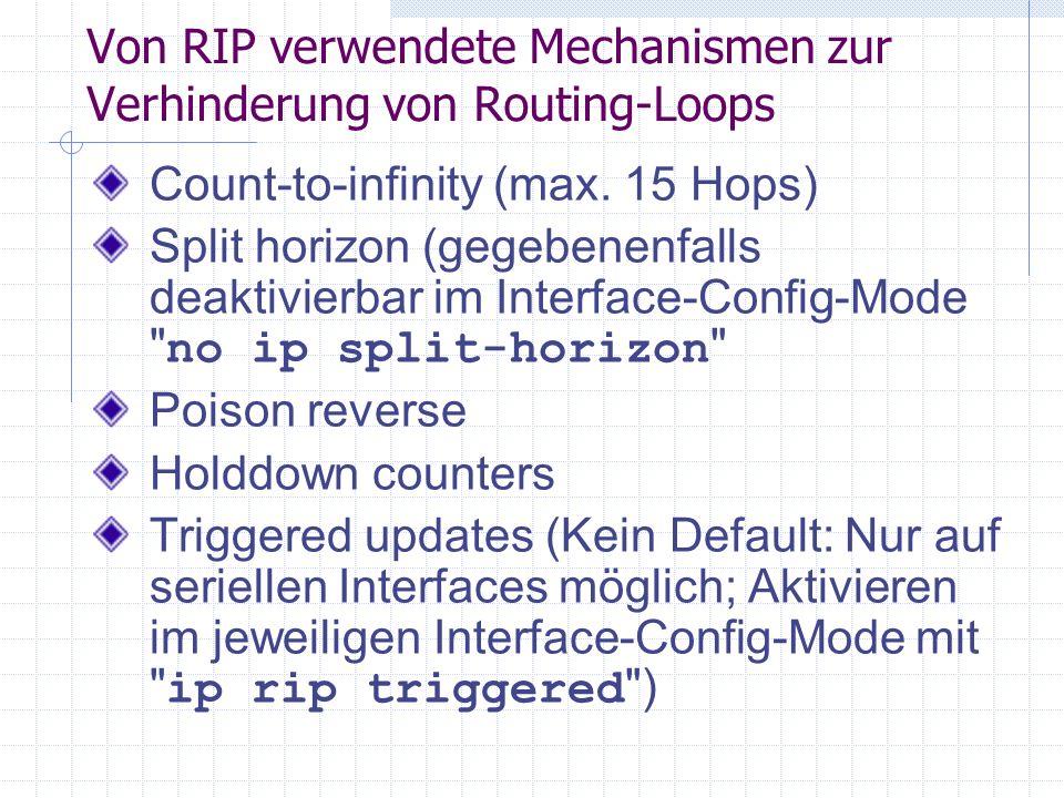 Von RIP verwendete Mechanismen zur Verhinderung von Routing-Loops