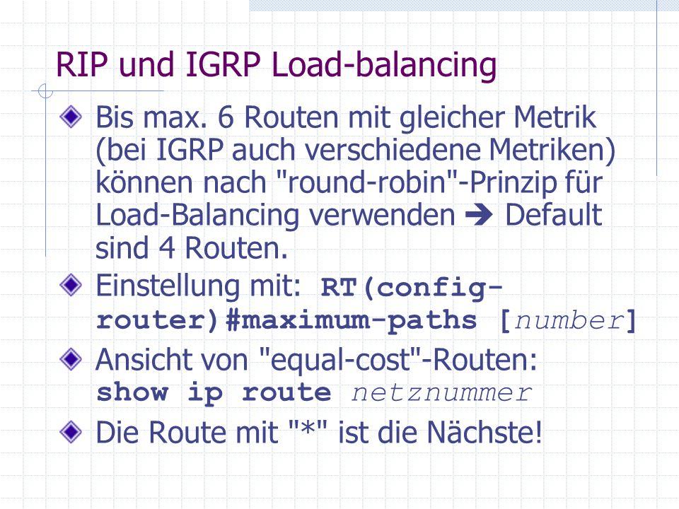 RIP und IGRP Load-balancing