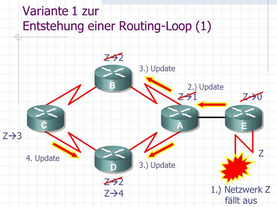Variante 1 zur Entstehung einer Routing-Loop (1)