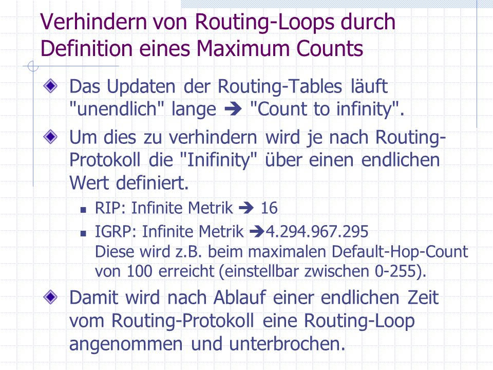 Verhindern von Routing-Loops durch Definition eines Maximum Counts