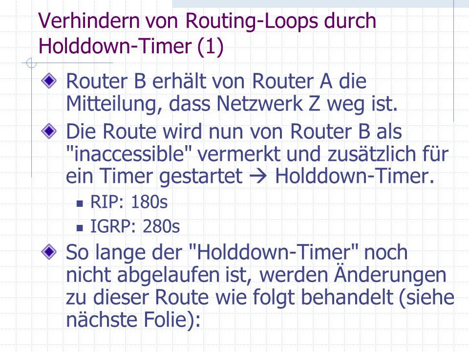 Verhindern von Routing-Loops durch Holddown-Timer (1)