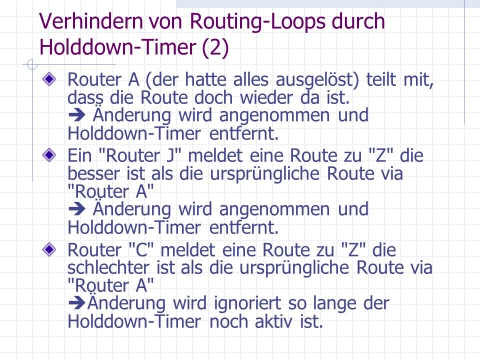 Verhindern von Routing-Loops durch Holddown-Timer (2)