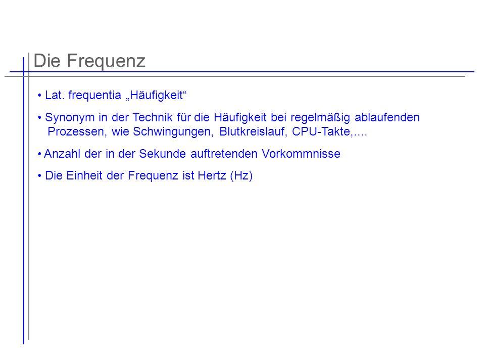 """Die Frequenz Lat. frequentia """"Häufigkeit"""
