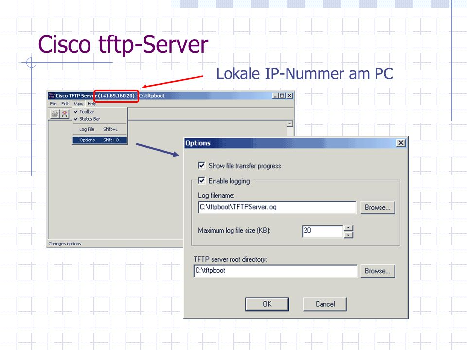 Cisco tftp-Server Lokale IP-Nummer am PC