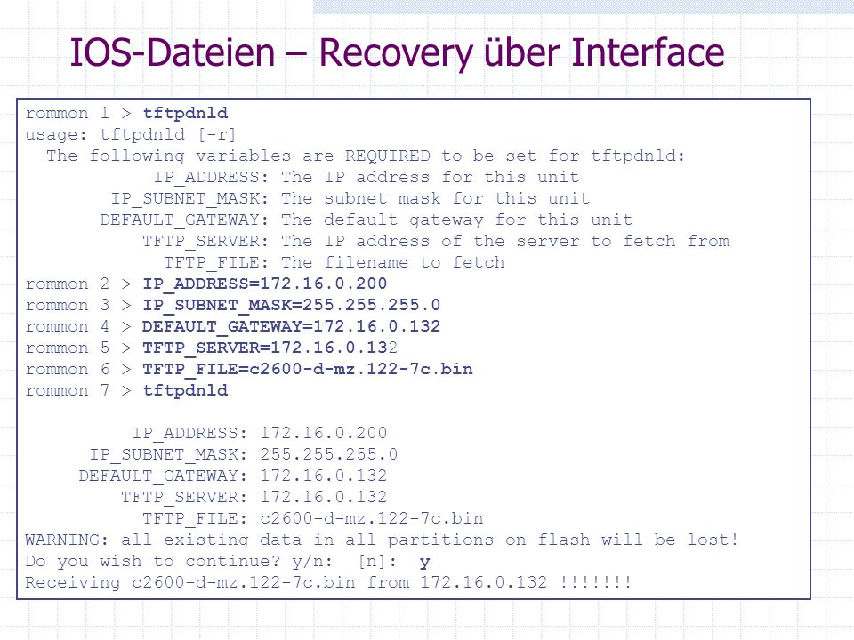IOS-Dateien – Recovery über Interface