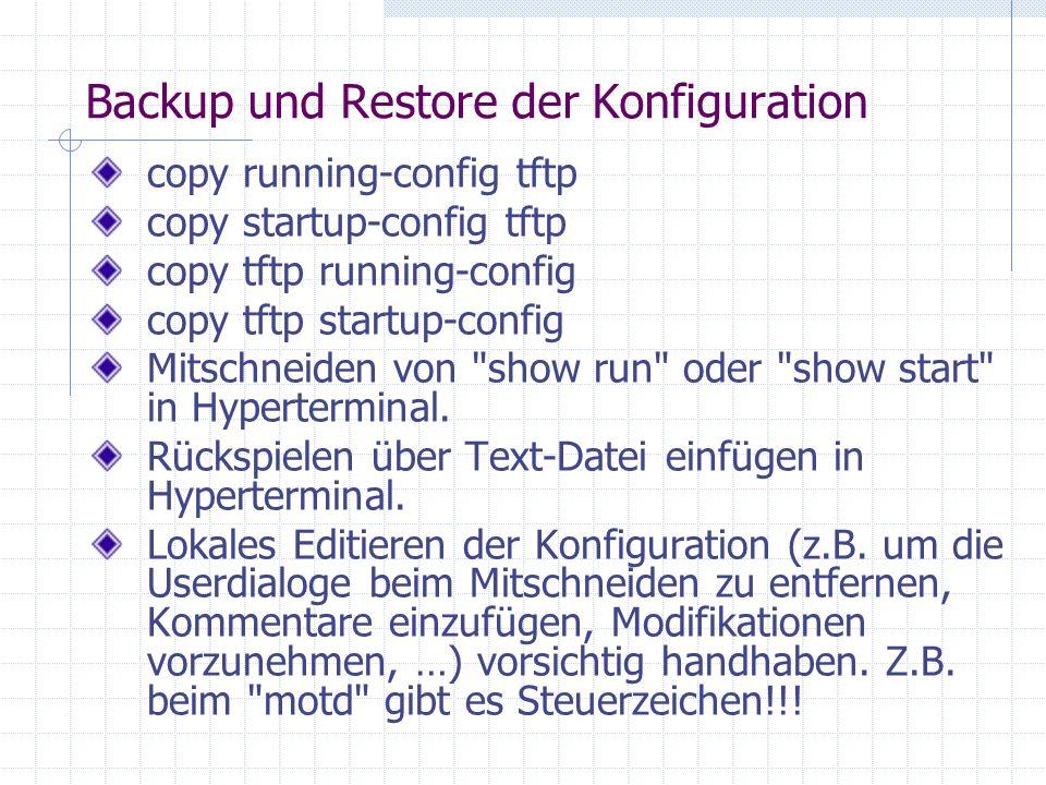 Backup und Restore der Konfiguration