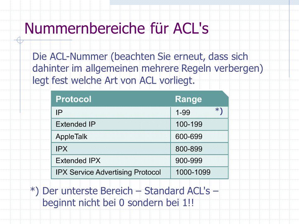 Nummernbereiche für ACL s
