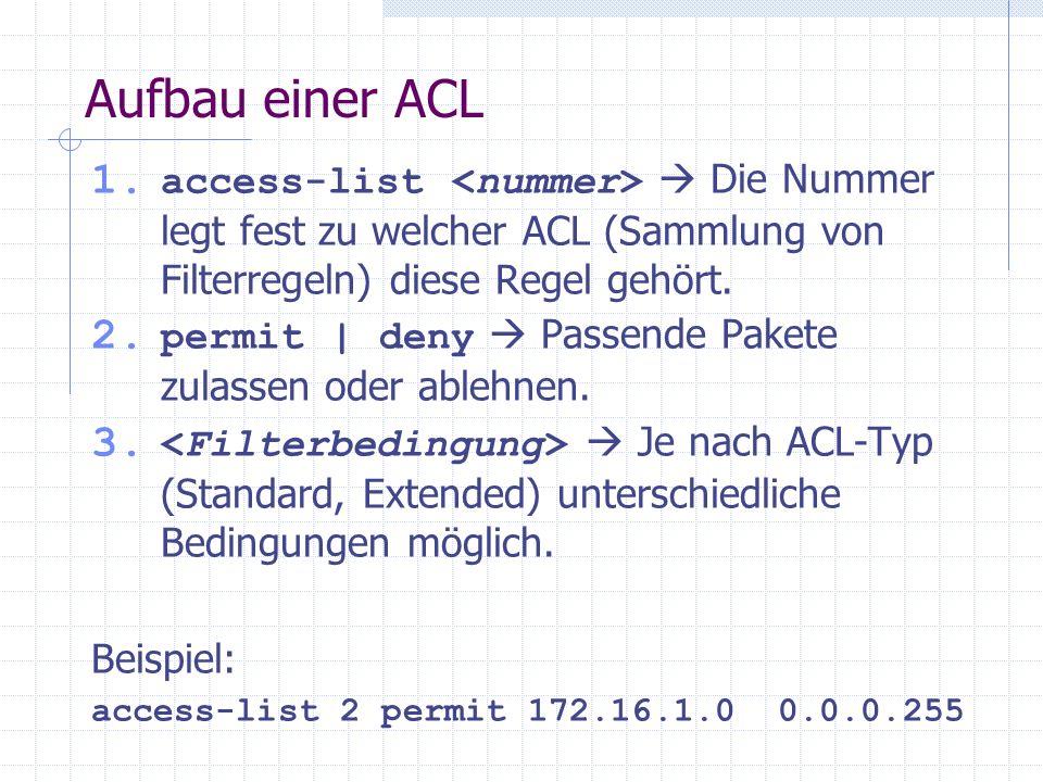 Aufbau einer ACL access-list <nummer>  Die Nummer legt fest zu welcher ACL (Sammlung von Filterregeln) diese Regel gehört.