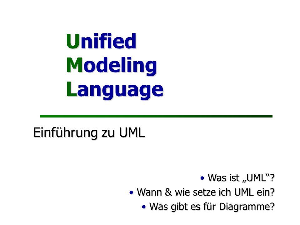 """Unified Modeling Language Einführung zu UML Was ist """"UML"""