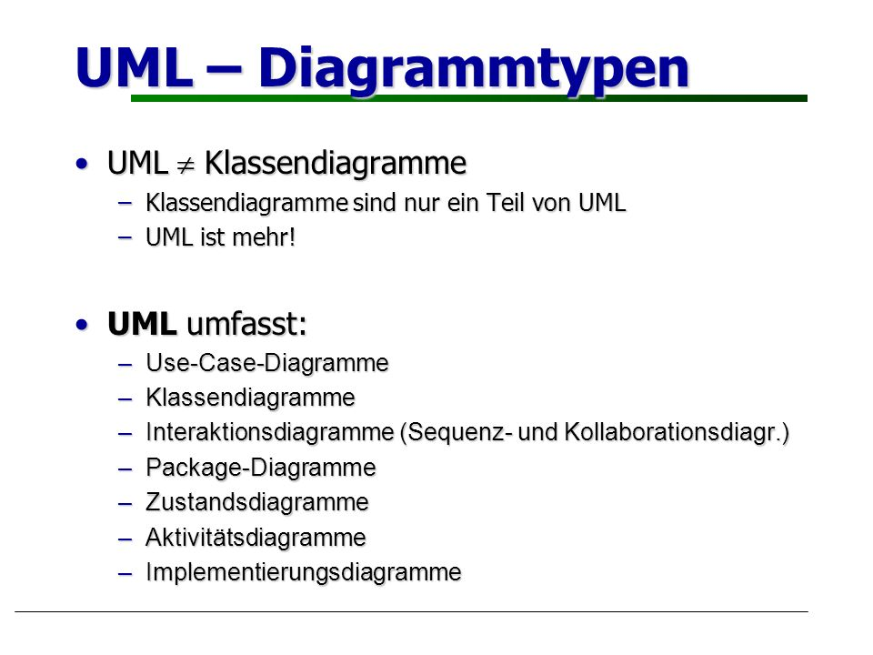 UML – Diagrammtypen UML  Klassendiagramme UML umfasst: