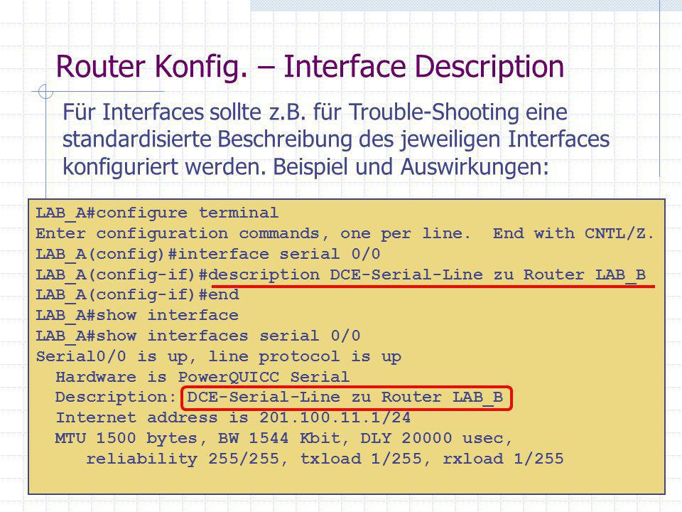 Router Konfig. – Interface Description