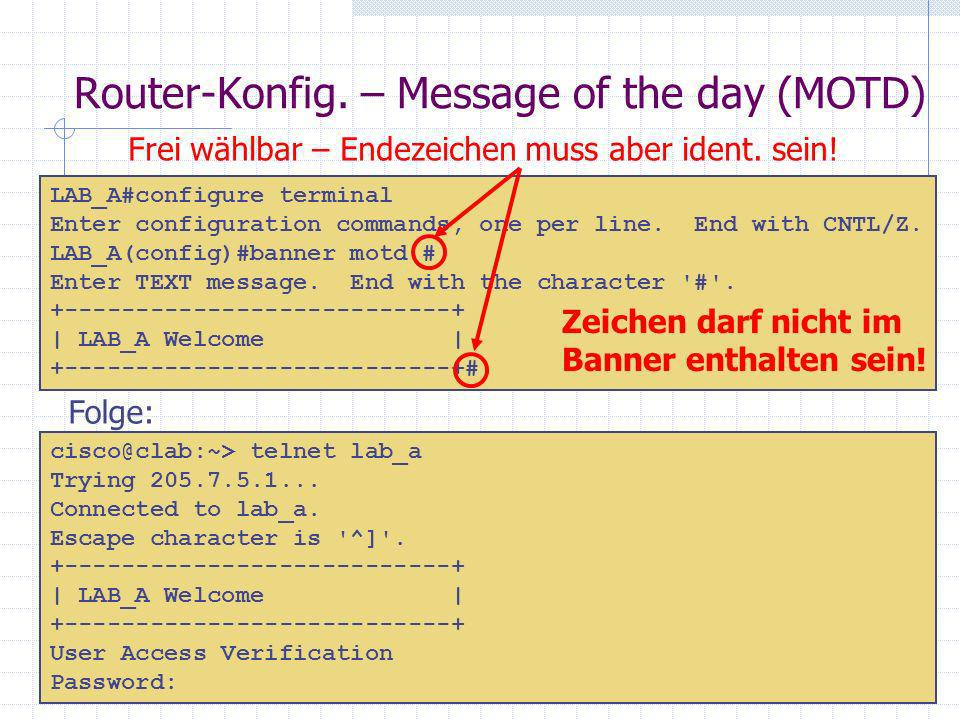 Router-Konfig. – Message of the day (MOTD)