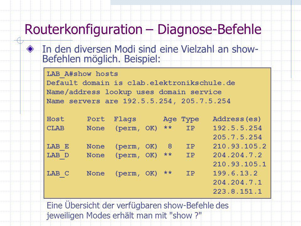 Routerkonfiguration – Diagnose-Befehle