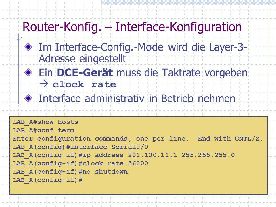 Router-Konfig. – Interface-Konfiguration