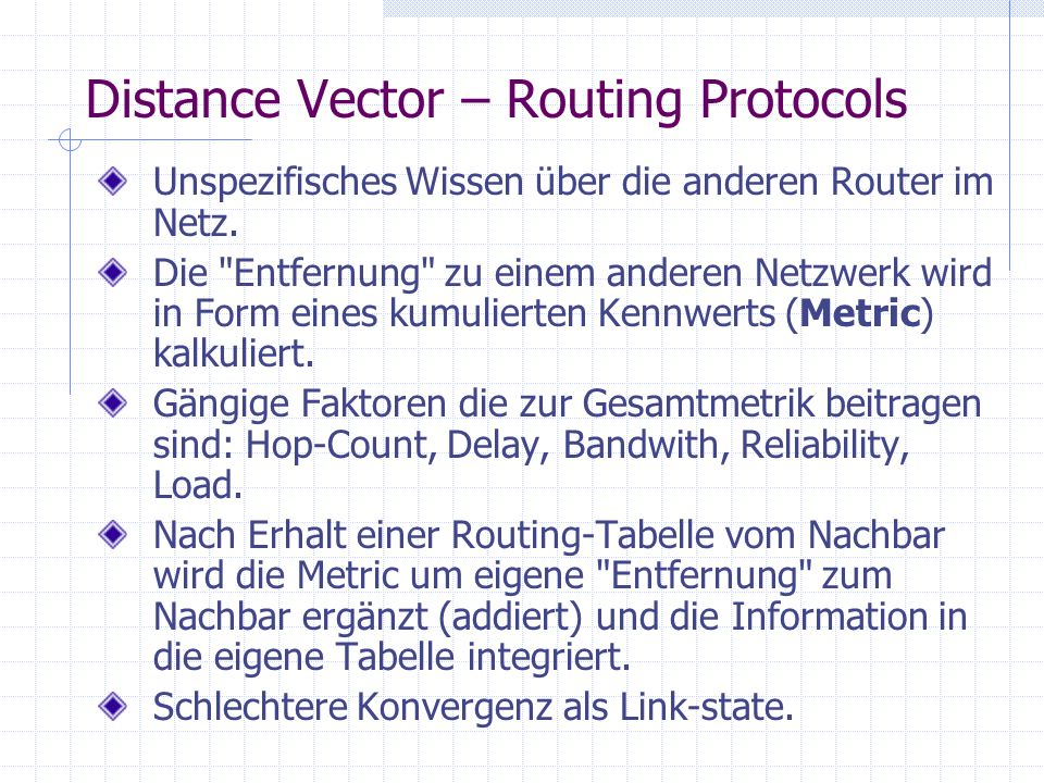 Distance Vector – Routing Protocols