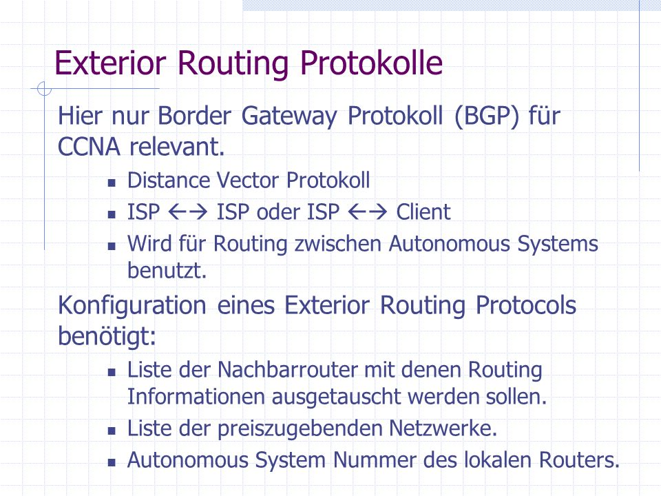 Exterior Routing Protokolle