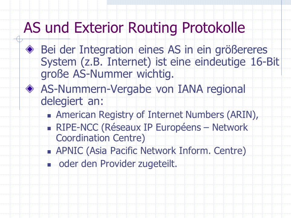 AS und Exterior Routing Protokolle