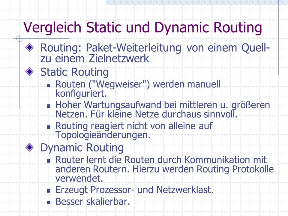 Vergleich Static und Dynamic Routing