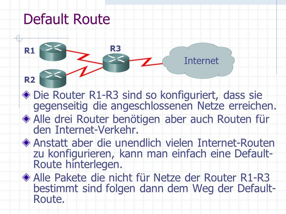 Default Route R3. R1. Internet. R2. Die Router R1-R3 sind so konfiguriert, dass sie gegenseitig die angeschlossenen Netze erreichen.