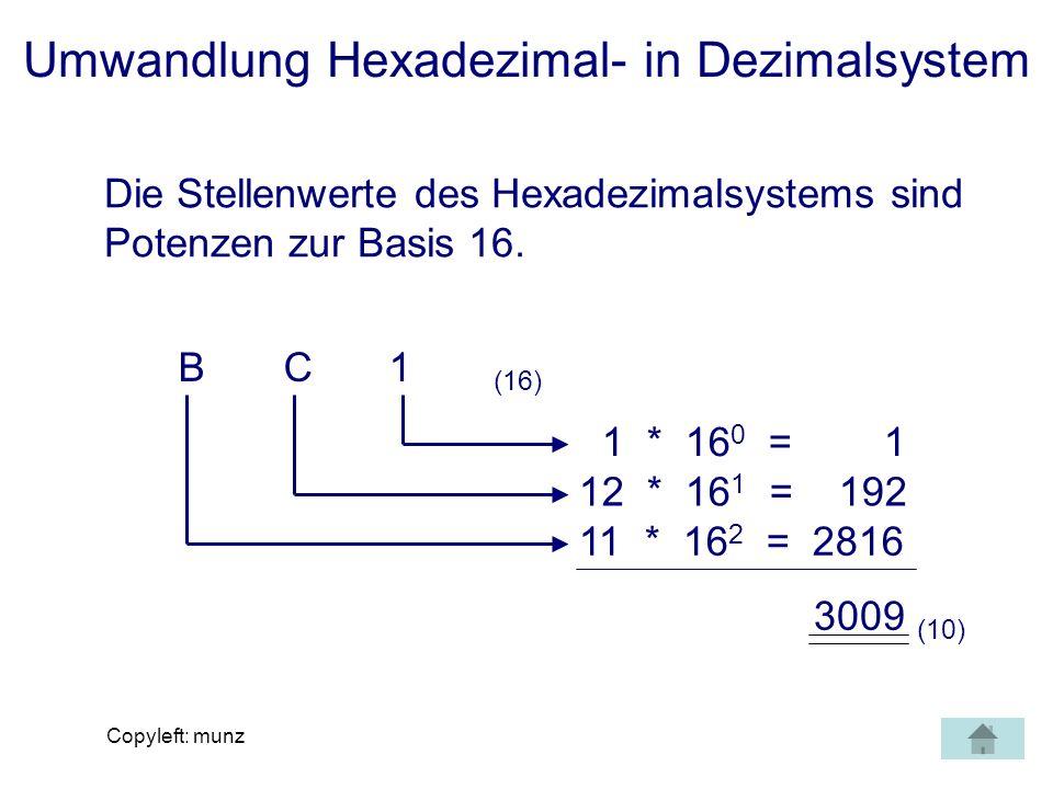 Umwandlung Hexadezimal- in Dezimalsystem