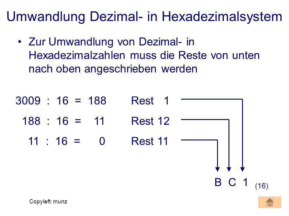 Umwandlung Dezimal- in Hexadezimalsystem