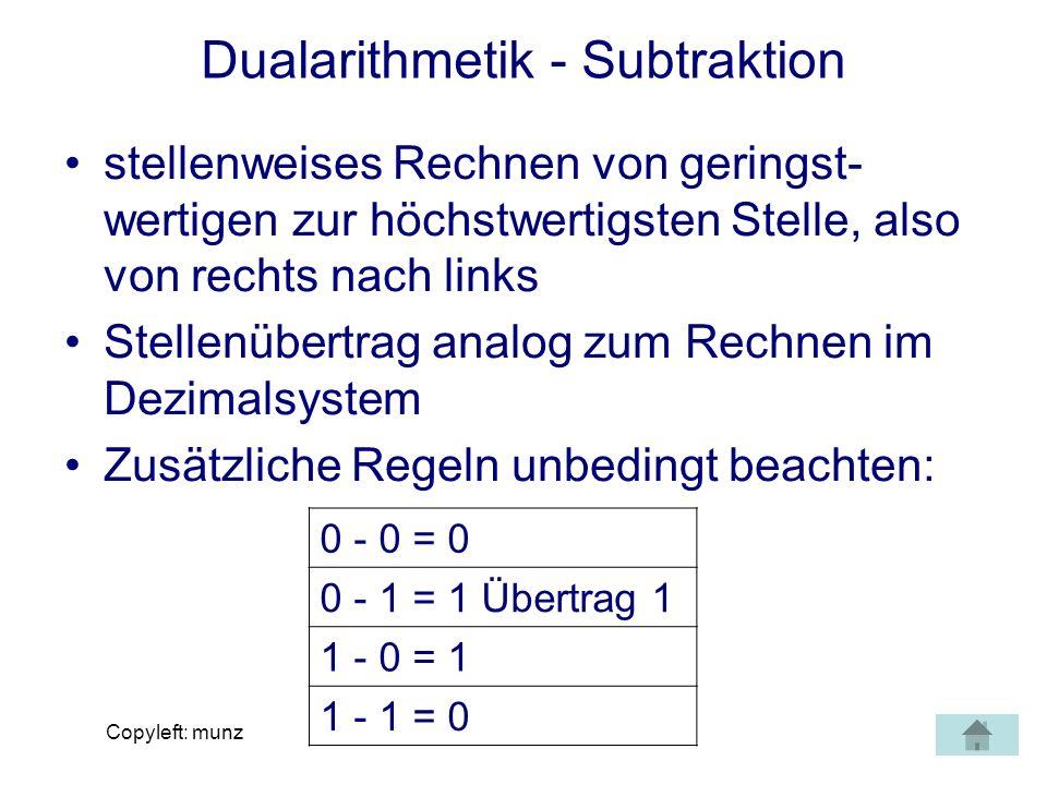 Dualarithmetik - Subtraktion