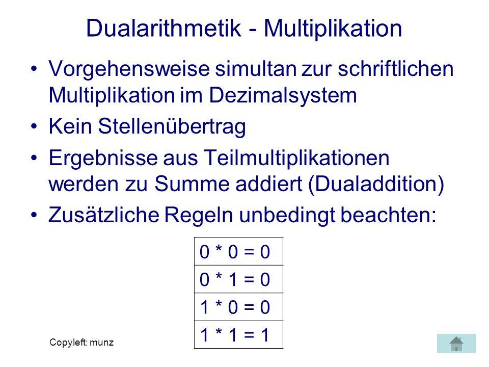 Dualarithmetik - Multiplikation