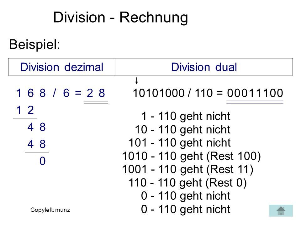 Division - Rechnung Beispiel: Division dezimal Division dual 1 6 8 / =