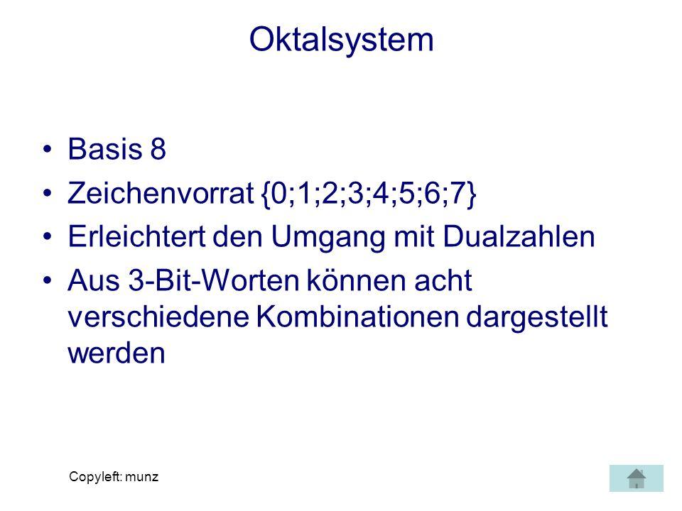 Oktalsystem Basis 8 Zeichenvorrat {0;1;2;3;4;5;6;7}