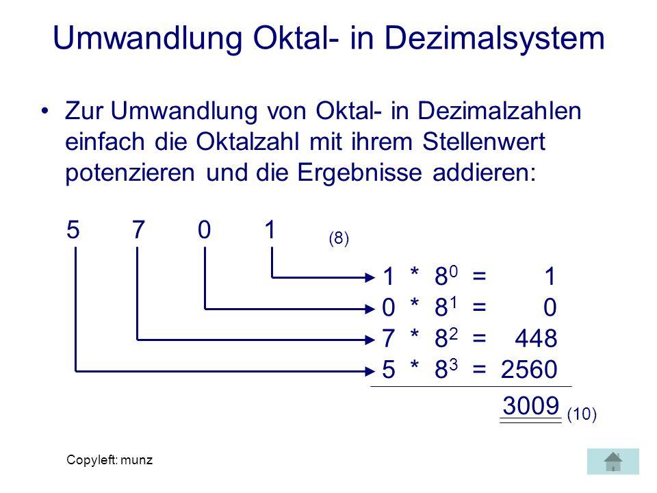 Umwandlung Oktal- in Dezimalsystem
