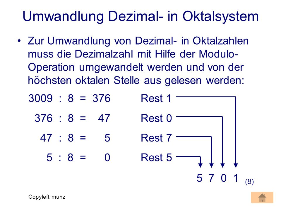Umwandlung Dezimal- in Oktalsystem