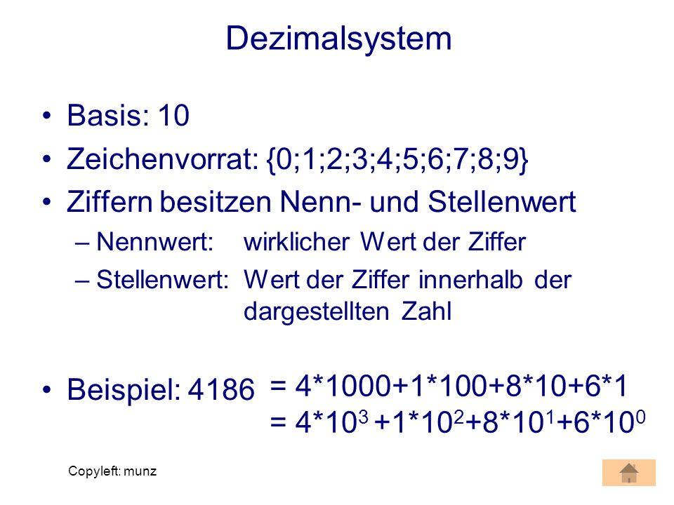 Dezimalsystem Basis: 10 Zeichenvorrat: {0;1;2;3;4;5;6;7;8;9}