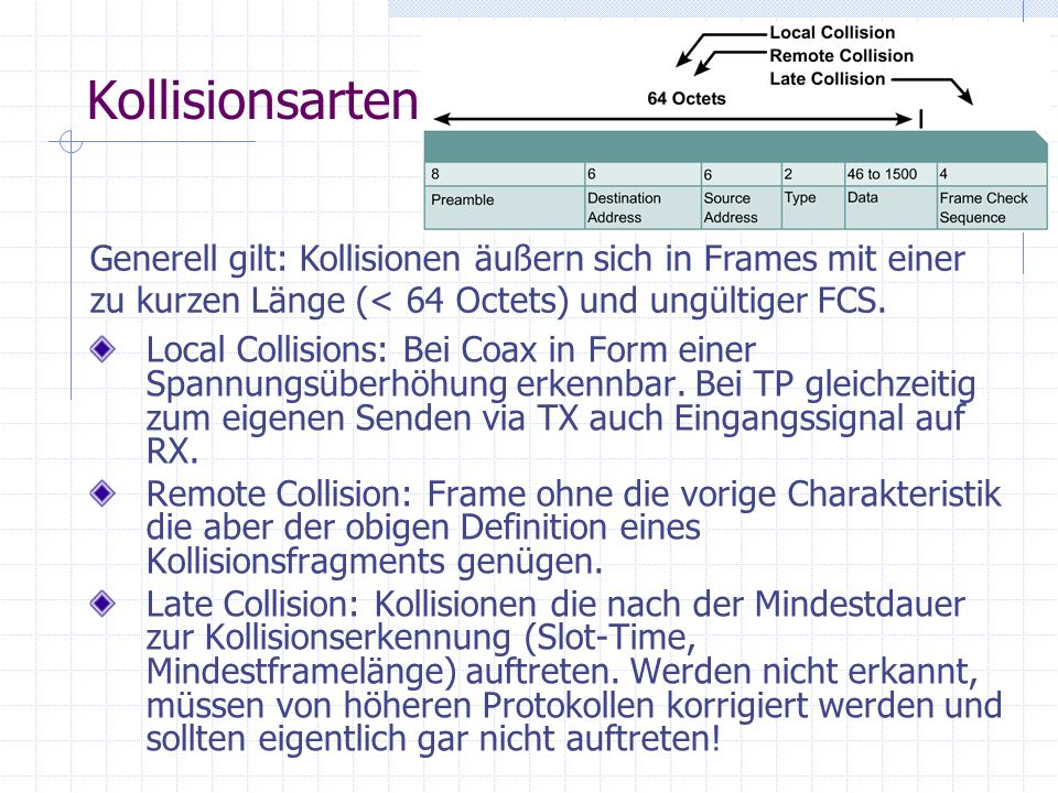 Kollisionsarten Generell gilt: Kollisionen äußern sich in Frames mit einer zu kurzen Länge (< 64 Octets) und ungültiger FCS.