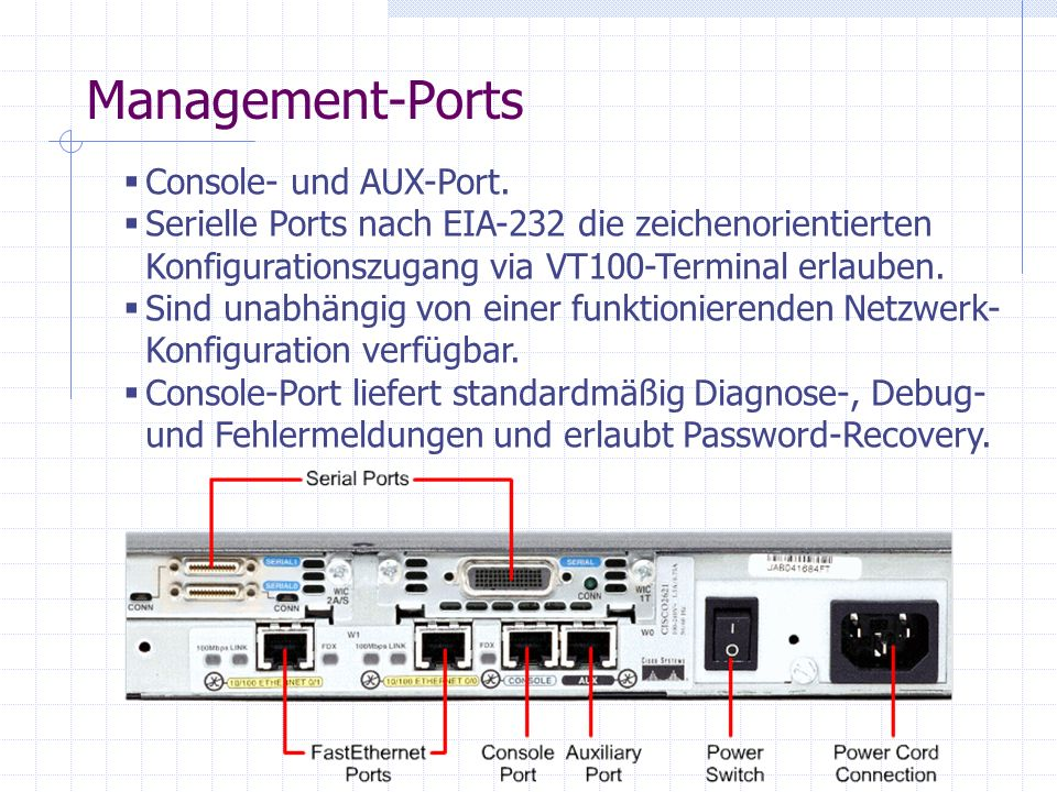 Management-Ports Console- und AUX-Port.
