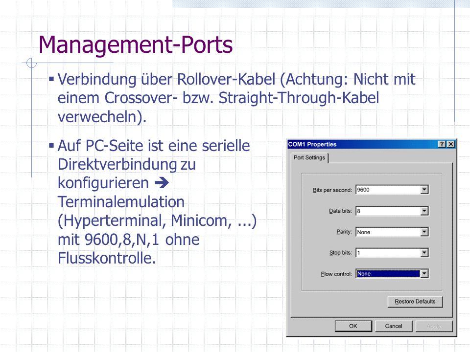 Management-Ports Verbindung über Rollover-Kabel (Achtung: Nicht mit einem Crossover- bzw. Straight-Through-Kabel verwecheln).